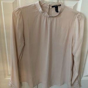 Beige mock neck blouse